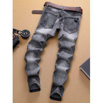 Vintage Ripped Patchwork Washed Faded Jeans - GRAY 34