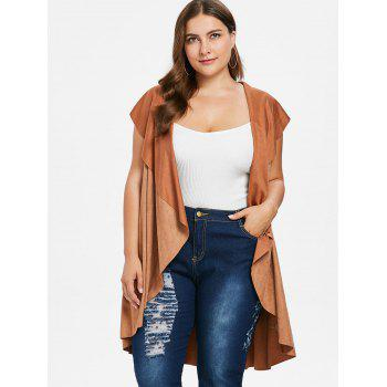 Plus Size High Low Draped Vest - LIGHT BROWN 2X