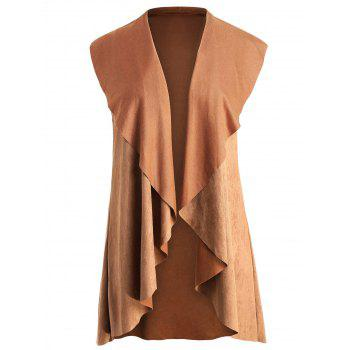 Plus Size High Low Draped Vest - LIGHT BROWN 4X