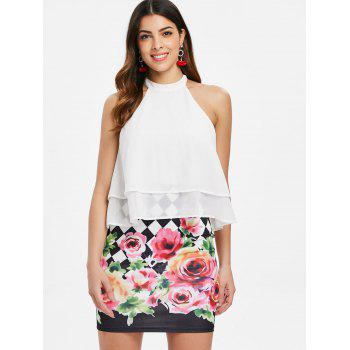 Floral and Checked Pattern Sleeveless Popover Dress - WHITE L