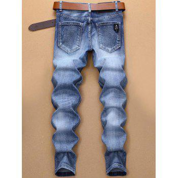 Halloween Style Embroidery Graphic Faded Jeans - DENIM BLUE 34