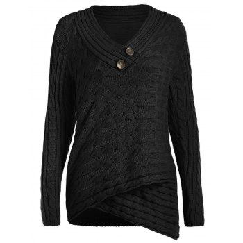 Button Embellished Cable Knit Sweater - BLACK S