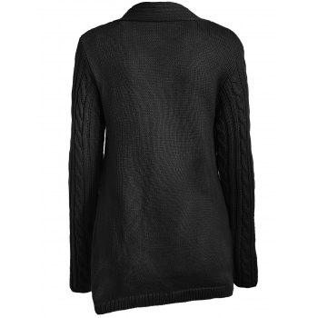 Button Embellished Cable Knit Sweater - BLACK M
