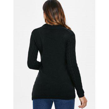Button Embellished Cable Knit Sweater - BLACK L