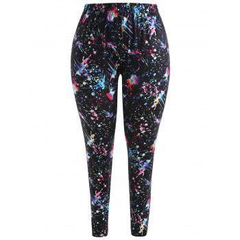 Plus Size Splatter Paint Leggings - BLACK 3X