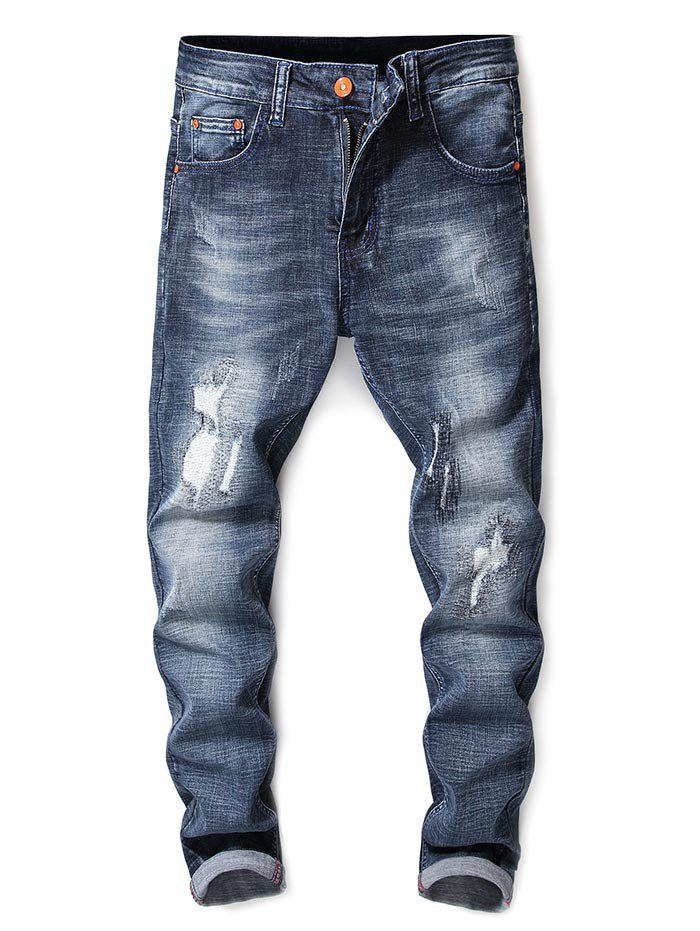 Ripped Zigzag Seam Design Washed Jeans - DENIM BLUE 34