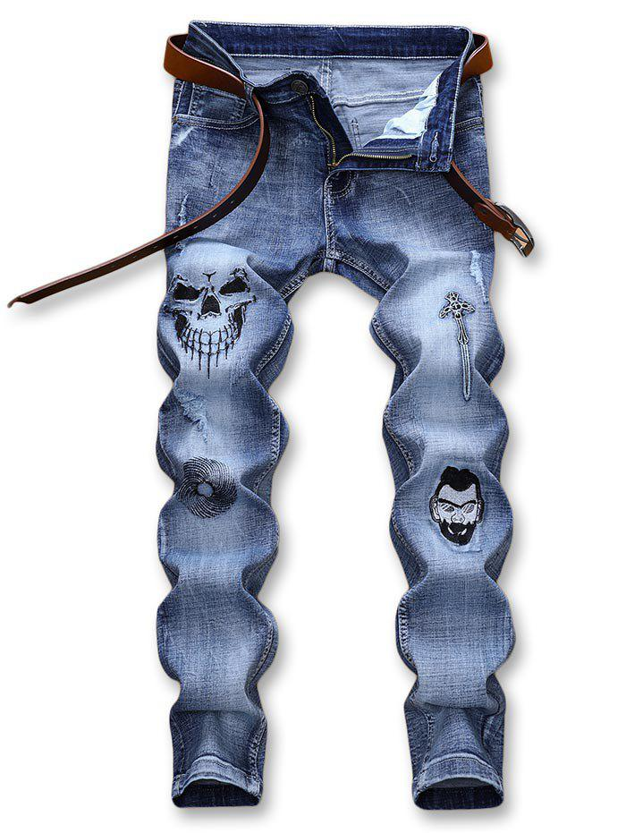 Halloween Style Embroidery Graphic Faded Jeans 278069503