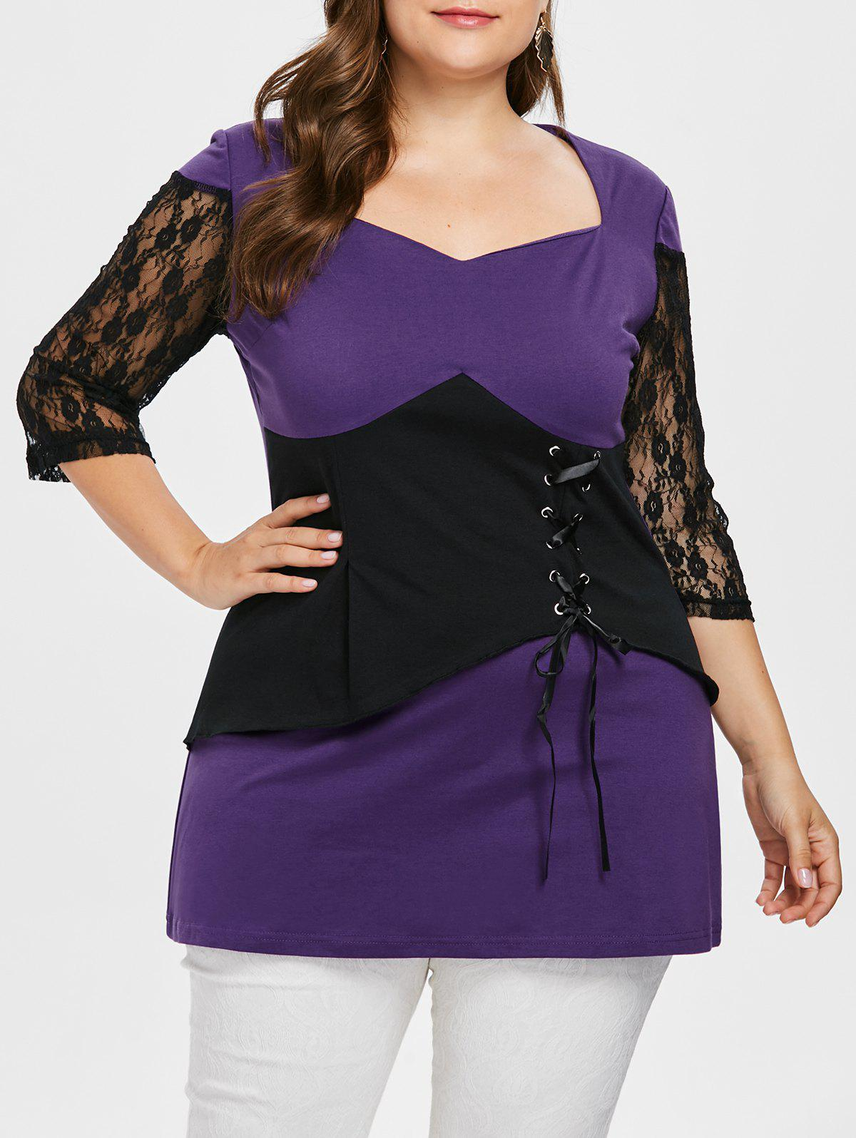 Plus Size Lace Sleeve Two Tone T-shirt