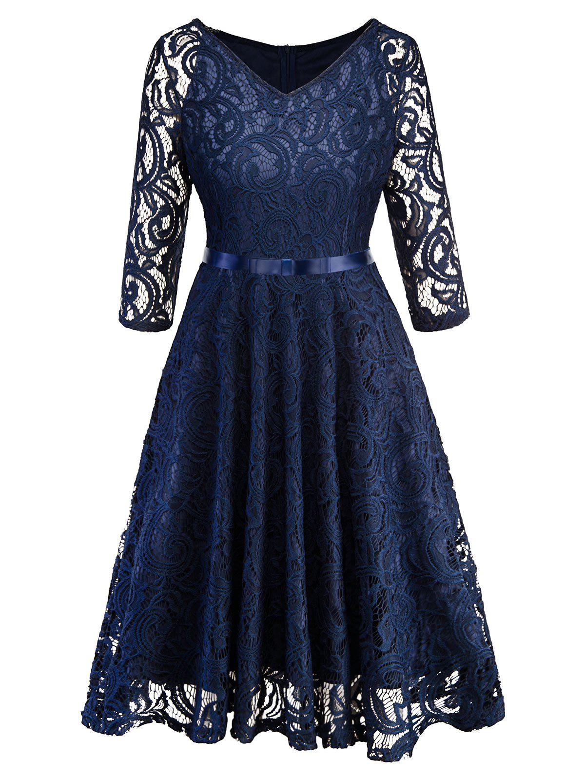 Retro Lace A Line Dress - DEEP BLUE S