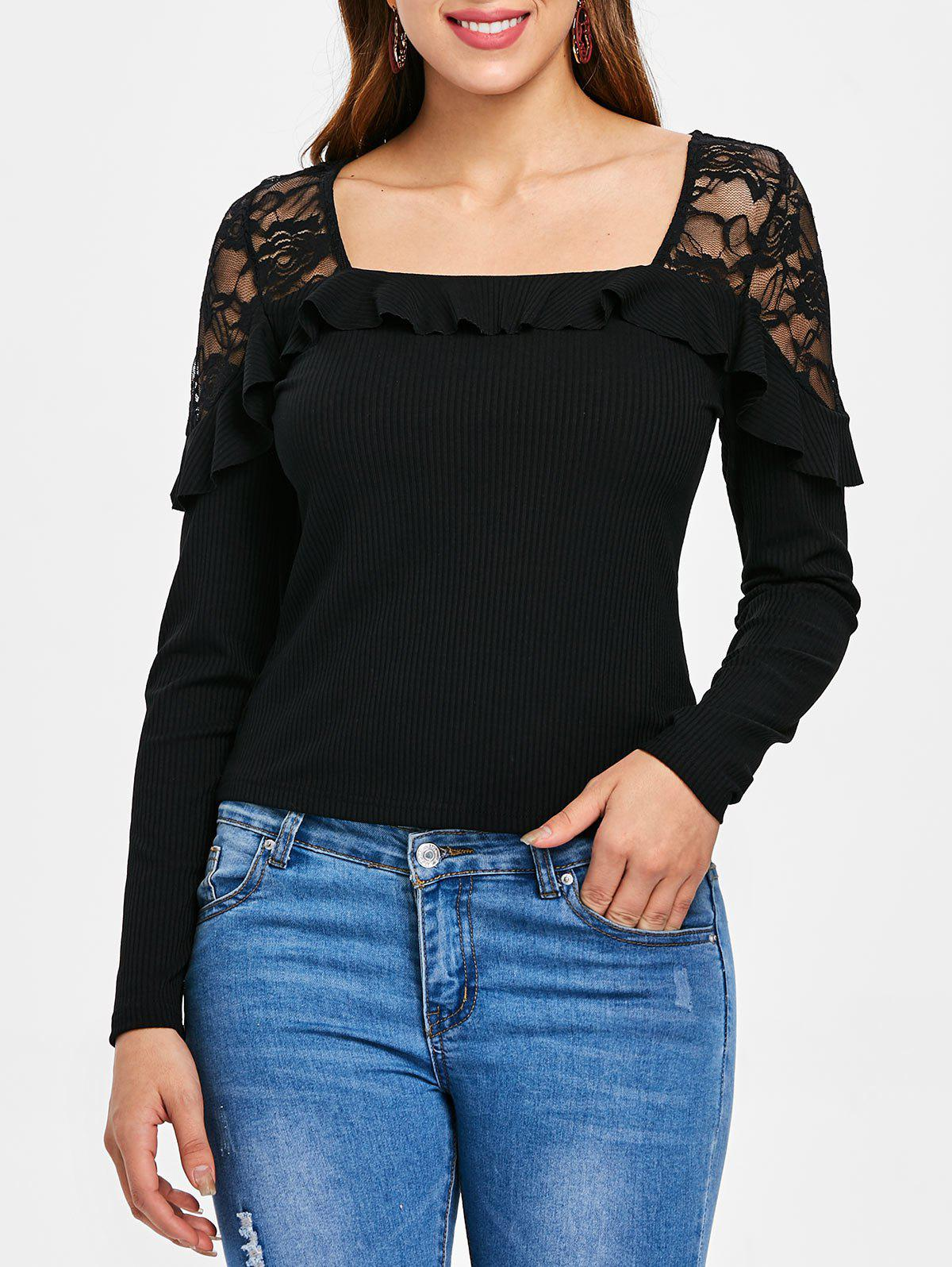 Lace Panel Ribbed Top