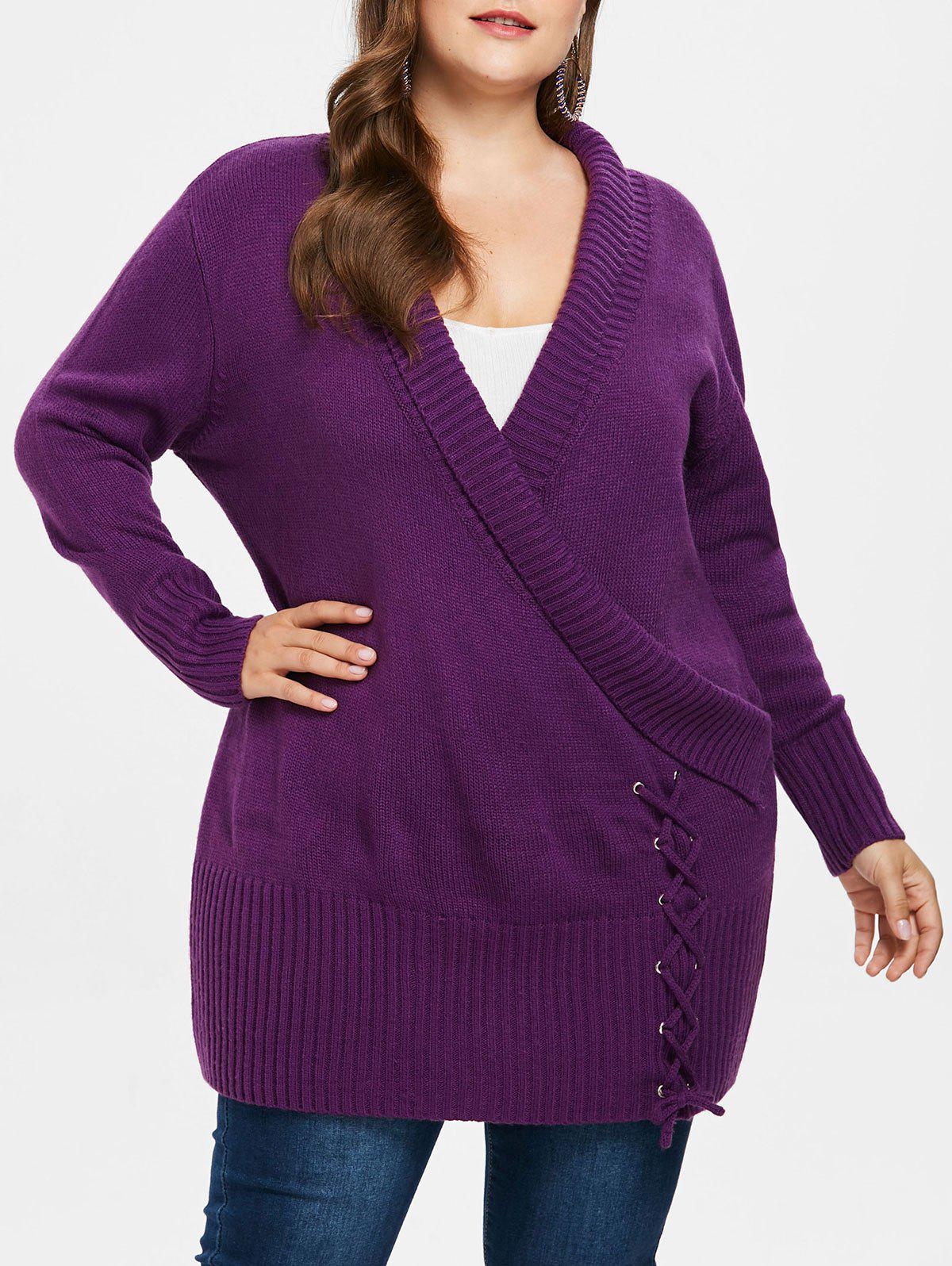 Plus Size Ripped Panel Long Sweater - PURPLE JAM 1X