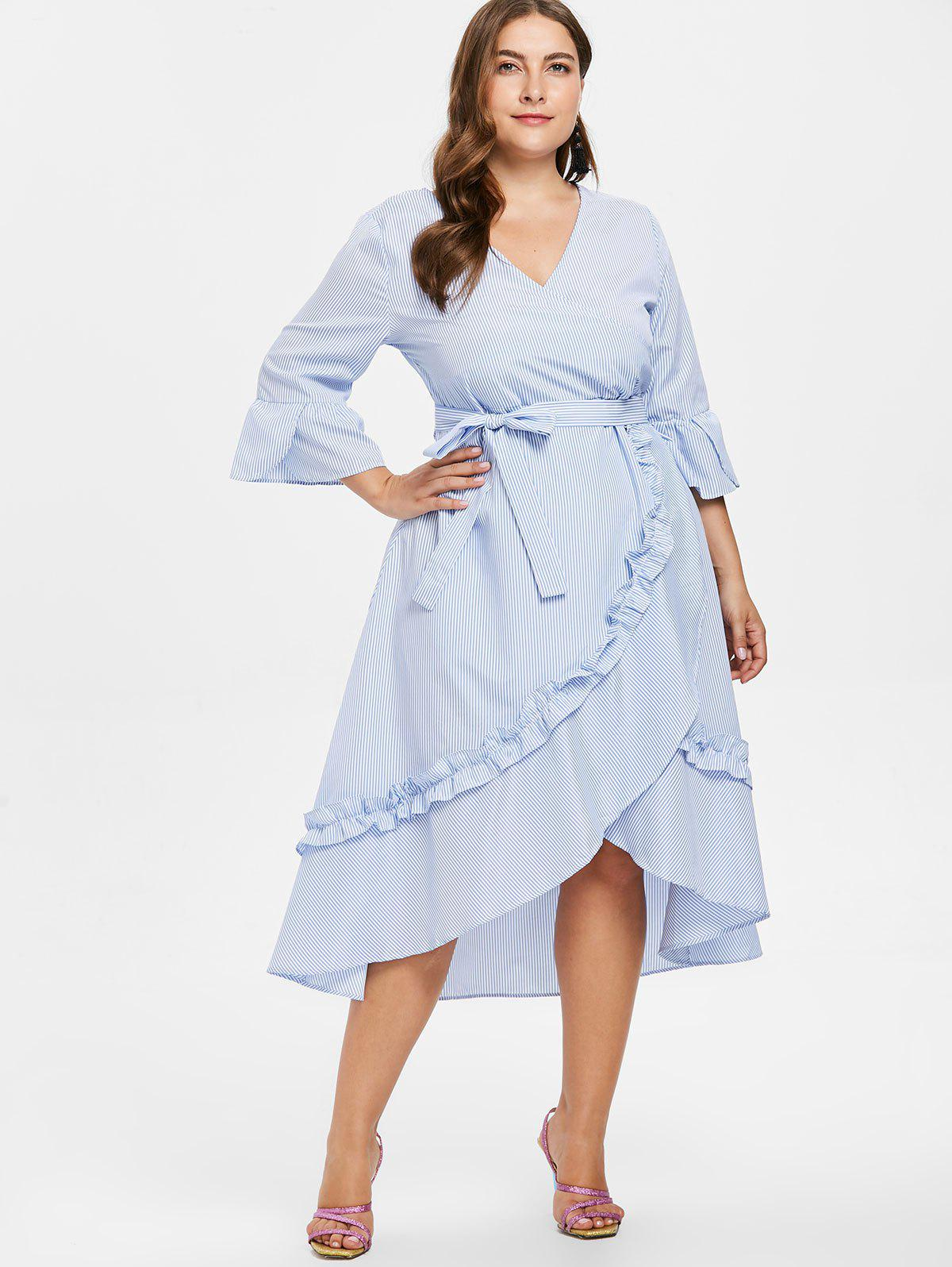 Plus Size Striped Asymmetric Belted Dress - LIGHT BLUE L