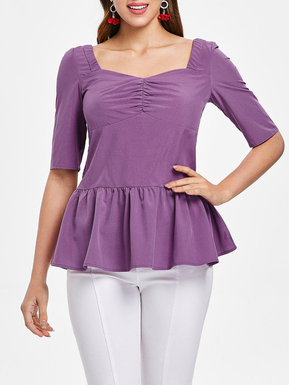 Shirred Back Sweetheart Neck Skirted Blouse - TYRIAN PURPLE M