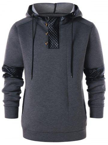 PU Leather Panel Button Embellished  Hoodie