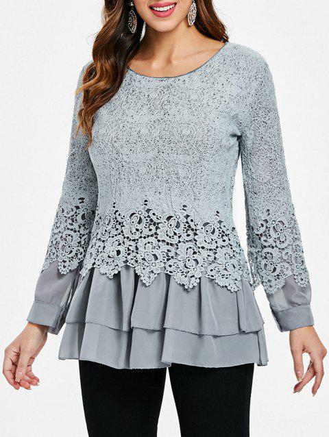 Long Sleeves Lace Panel Top - GRAY M