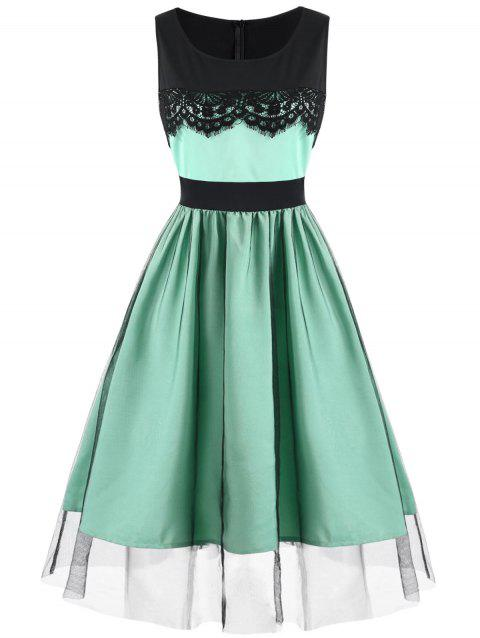 Summer Mesh Overlay Retro Dress - BLUE GREEN XL