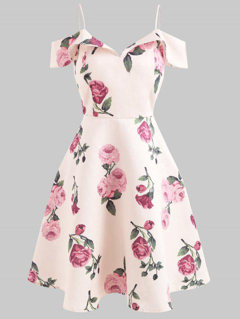 Ruffle Sleeve Flower Print Dress - PINK BUBBLEGUM L