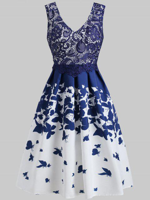 Lace Overlay Cocktail Butterflies Dress - BLUE S