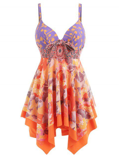 Tankini Asymétrique Push-Up à Imprimé - Orange L