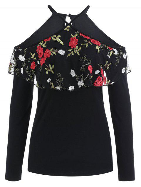 Flowered Flounce Overlay Long Sleeve Top - BLACK M