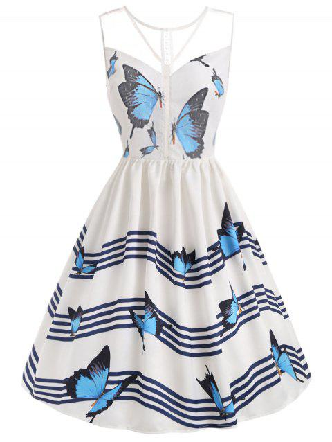 Butterfly River Printed Sleeveless Flared Dress - WHITE S