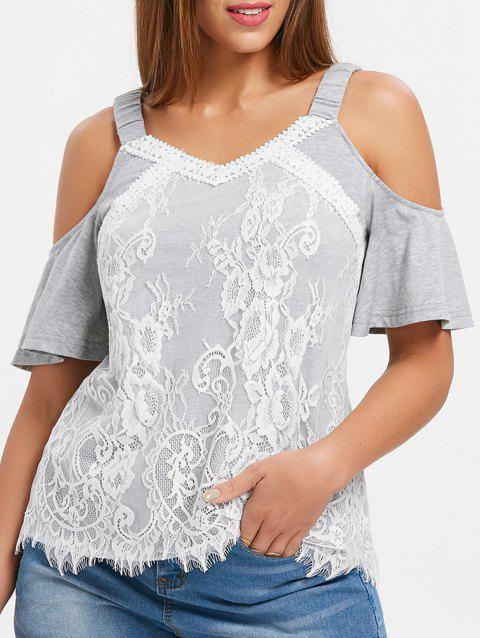 Elastic Straps Cut Out Shoulder Blouse - LIGHT GRAY 2XL