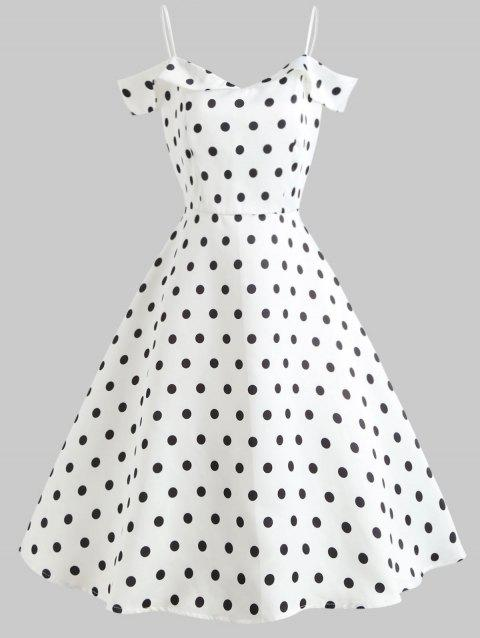 Polka Dot Shoulder Cut Flare Dress - MILK WHITE M