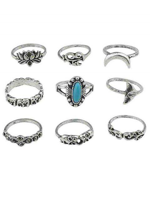 Artificial Gem Flowers Finger Rings Set - SILVER ONE-SIZE