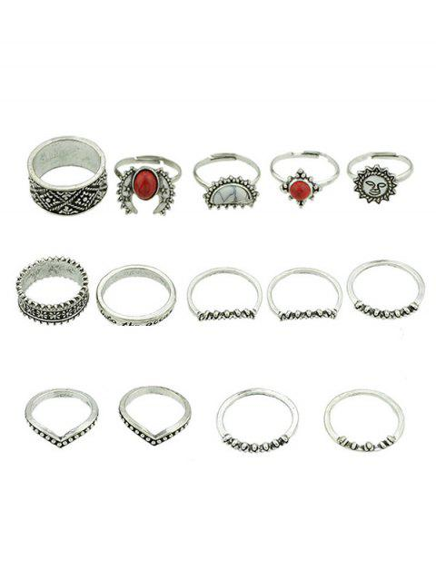 Alloy Artificial Gem Rings Set - SILVER ONE-SIZE