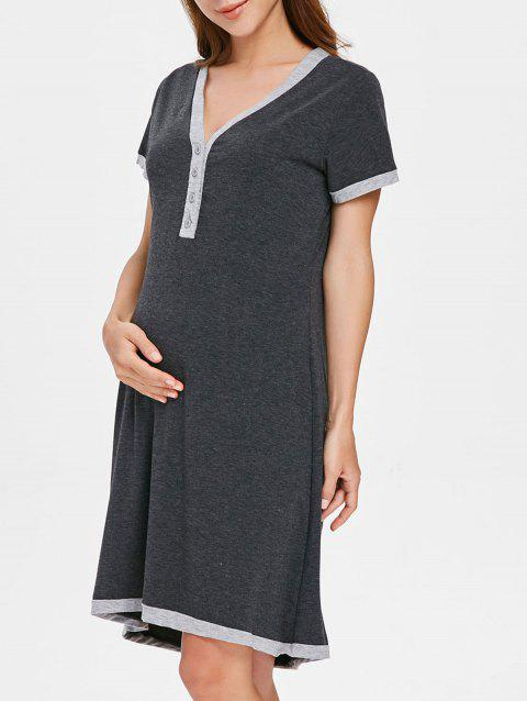 Short Sleeve Button Up Sleep Dress - GRAY M