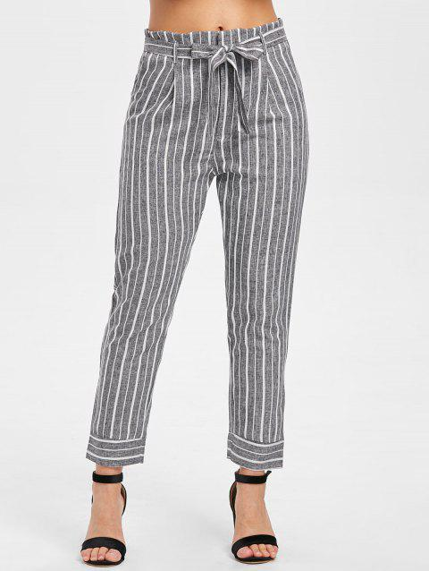 Striped Panel High Waist Pants with Belt - GRAY S
