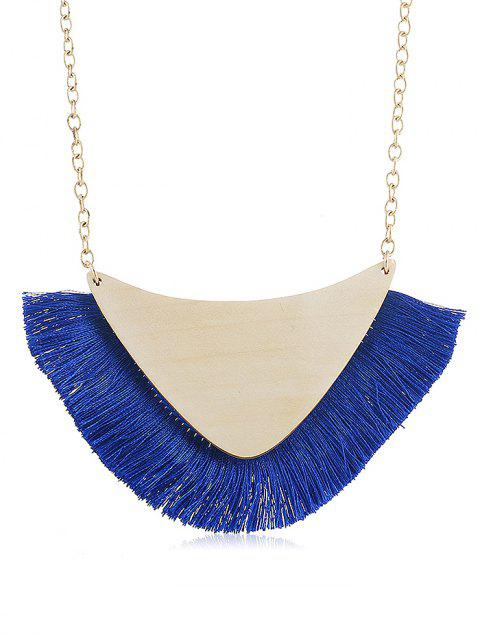 Geometric Fringed Wooden Pendant Chain Necklace - BLUE