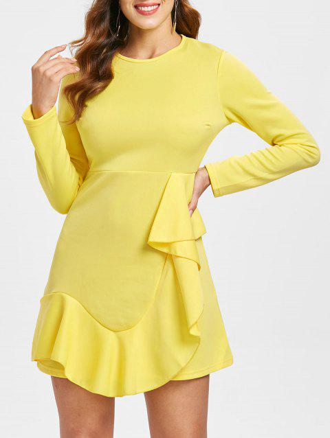Long Sleeve Flounce Trim Mini Dress - YELLOW XL