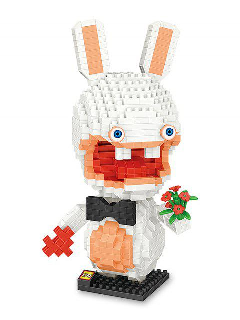 White Rabbit Figure Building Block Educational DIY Toy - WHITE
