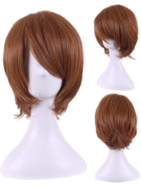 Short Inclined Bang Straight Synthetic Cosplay Wig - BROWN