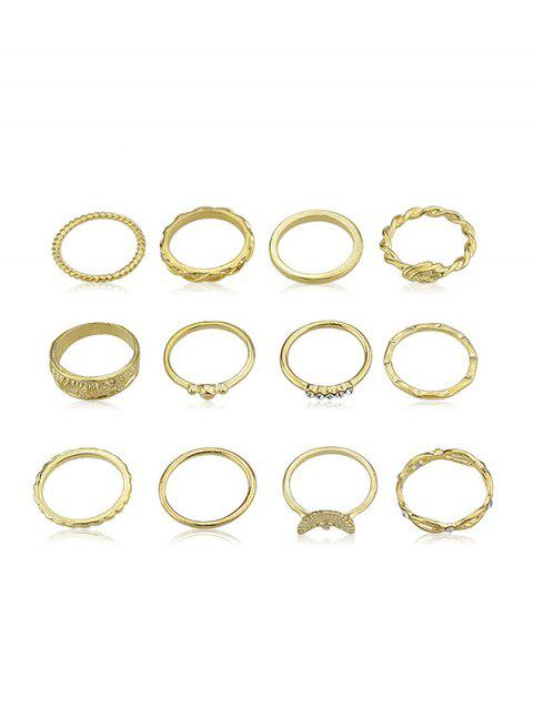 12pcs bague en strass - Or ONE-SIZE