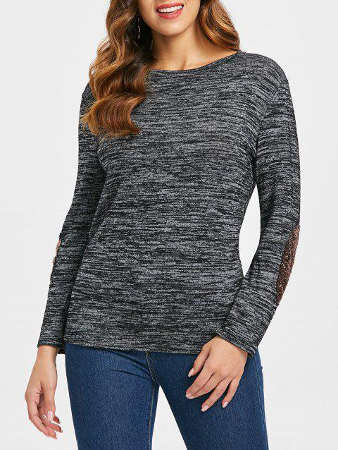 Sequined Patch Crew Neck Knitwear - DARK GRAY S