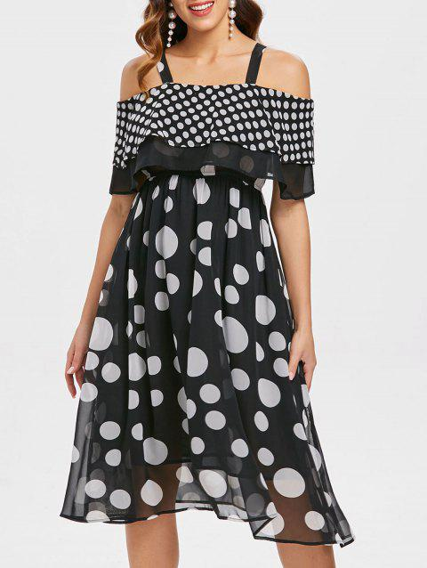 Cold Shoulder Dotted Midi Dress - BLACK XL