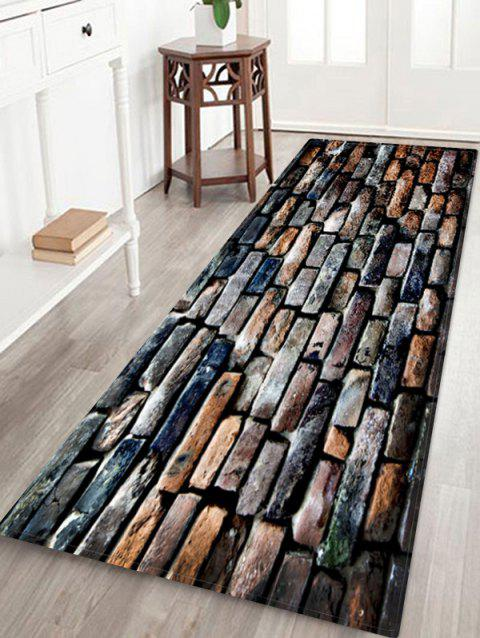 Brick Wall Water Absorption Area Rug - multicolor W24 INCH * L71 INCH