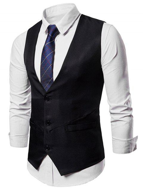 Single Breasted Adjustable Back Belt Vest - BLACK M