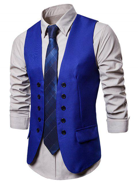 Curve Button Placket Suit Vest - BLUE 2XL