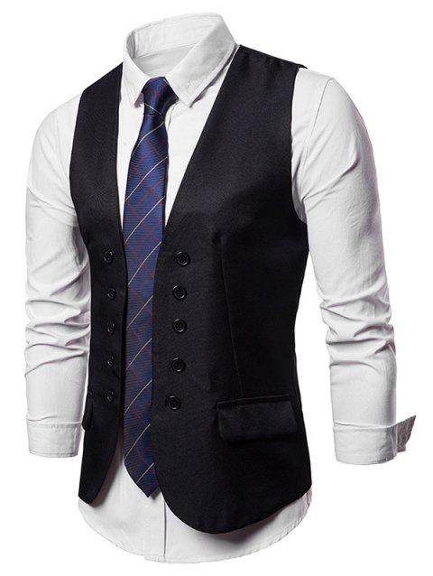 Curve Button Placket Suit Vest - BLACK XL