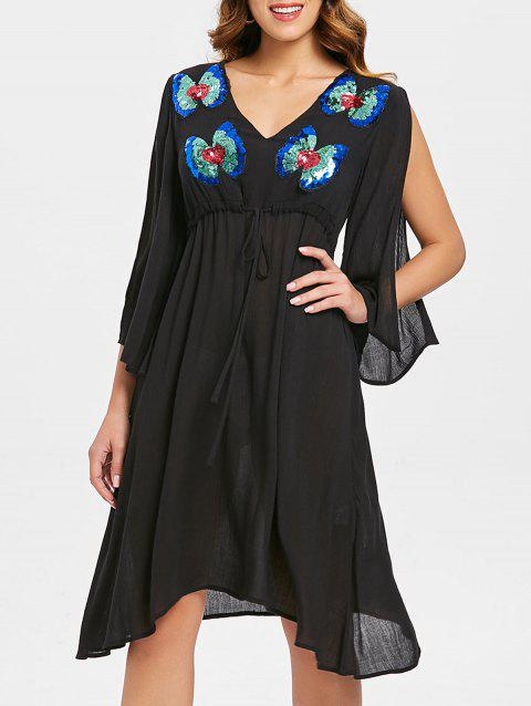 Butterfly Pattern Sequins Split Sleeve Dress