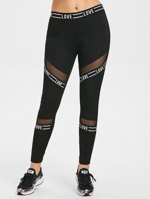 Color Block Mesh Insert Leggings - BLACK M