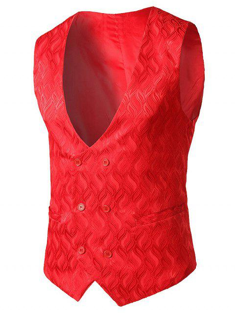 False Pocket Adjustable Back Belt Vest - RED L