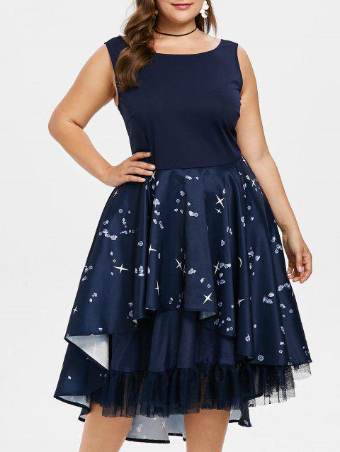 2018 Plus Size Layered Hem Open Back Dress Cadetblue X In Vintage