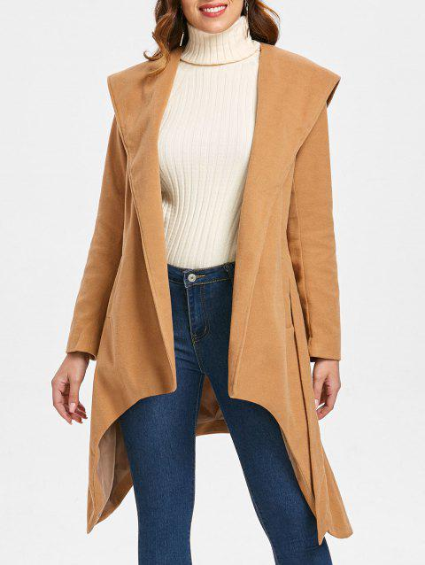Felt Hooded Wrap Coat - CAMEL BROWN M
