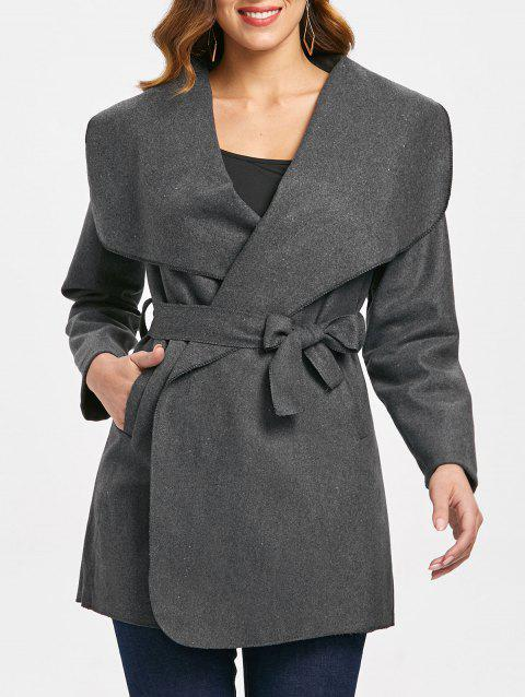 Wide Shawl Collar Coat with Pocket - CARBON GRAY L