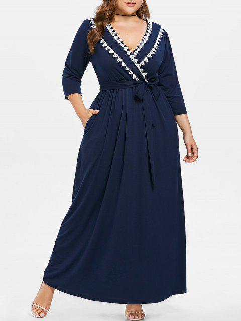 Plus Size Low Cut Pockets Floor Length Dress - CADETBLUE 4X