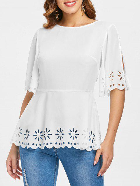 Slit Sleeve Eyelet Peplum Blouse - WHITE XL